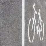 Bicycle symbol on the road Stock Image