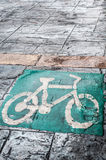 Bicycle symbol Road on city Stock Photos