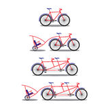 Bicycle and tandem-bicycle. Various kinds. Royalty Free Stock Photography