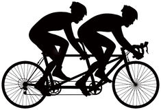 Bicycle tandem racer vector silhouette Stock Photography