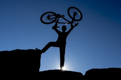 Bicycle target success. The joy of success summit Royalty Free Stock Photo