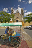 Bicycle taxi in front of Catholic cathedral of Izamal, Yucatan Peninsula, Mexico Stock Image