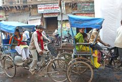 Bicycle taxi in Mathura Stock Images