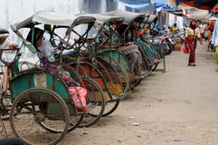 Bicycle taxis in Indonesia Royalty Free Stock Images