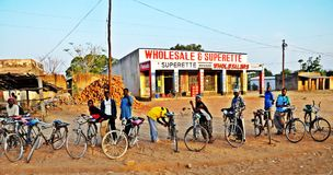 Bicycle Taxis in a Malawi Village Royalty Free Stock Image