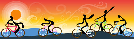 Bicycle team landscape sunrise sky Royalty Free Stock Photos