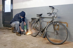 Bicycle thief Royalty Free Stock Photography