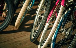 Bicycle, tire wheels vintage hipsters toning Royalty Free Stock Photo