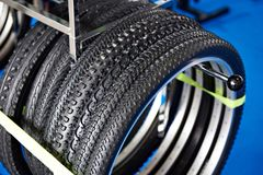 Bicycle tires an assortment in store Royalty Free Stock Photo