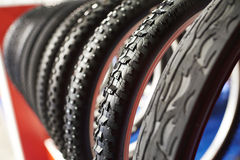 Bicycle tires an assortment of store Royalty Free Stock Photography