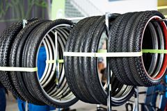 Bicycle tires an assortment in store Stock Image