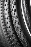 Bicycle tires of different protectors Stock Image