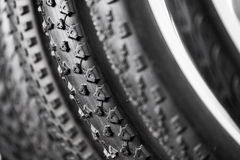 Bicycle tires of different protectors Stock Photos