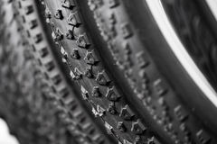 Bicycle tires of different protectors Royalty Free Stock Photos
