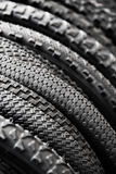Bicycle tires of different protectors Stock Photo