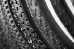 Bicycle tires of different protectors Royalty Free Stock Photography