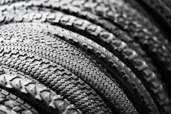 Bicycle tires of different protectors Royalty Free Stock Image