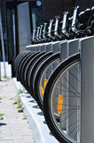 Bicycle tires in a row Stock Photo