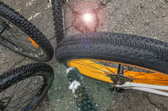 Bicycle tires & wheels Stock Image