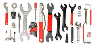 Bicycle tool set. Bicycle professional tool set isolated on white background royalty free stock images