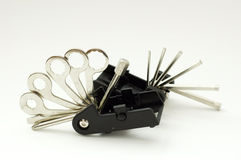 Bicycle tools. Unfolded portable set of keys for bike repairing royalty free stock photo