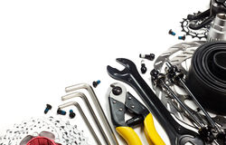 Bicycle tools and spares. Mountain bike tools and spares on white background Stock Image