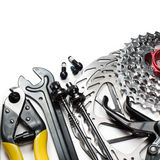 Bicycle tools and spares. Mountain bike tools and spares on white background Stock Photography