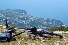 Bicycle at top of mountain Royalty Free Stock Image