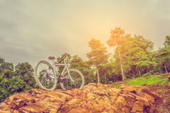 bicycle on the top of rock mountain Stock Photography