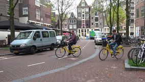 Bicycle tour of Amsterdam. Netherlands stock video footage