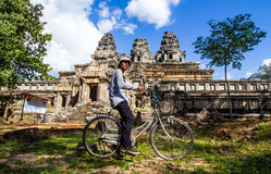 Bicycle tour at Angkor Wat. Stock Images