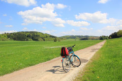 Bicycle tour in the green valley, german landscape Royalty Free Stock Image