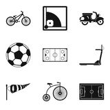 Bicycle tour icons set, simple style Royalty Free Stock Photo