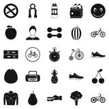 Bicycle tour icons set, simple style Royalty Free Stock Images