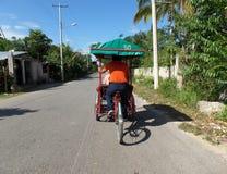 Bicycle tour Leona Vicario, Yucatan in Mexico royalty free stock photos