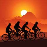 Bicycle tour. Silhouettes bike riders in nature mountain landscape. Vector illustration Stock Photos