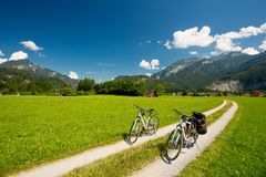 Bicycle touring in Austria. Mountains stock image