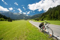 Bicycle touring in Austria. Mountains stock photography