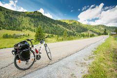 Bicycle touring in Austria. Mountains royalty free stock photography