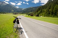 Bicycle touring in Austria. Bicycle touring on Austria roads royalty free stock photo