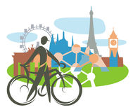 Bicycle touring in Europe Stock Photography