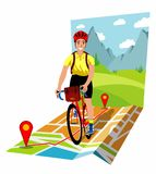Bicycle touring illustration Stock Images