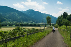 Bicycle touring. Taken in Austria, towards Villach, on a summer bicycle tour royalty free stock photos