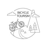 Bicycle tourism outline background. Minimalistic Stock Image