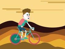Bicycle tourist riding on the mountain. Stock Photos