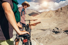 Bicycle tourists in Himalaya mountain Stock Image