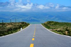Qinghai Lake bicycle track around the lake stock images