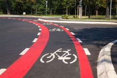 Bicycle track and road sign. Bicycle street line track and road sign Stock Image