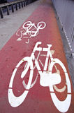 Bicycle track signs in the city Stock Image