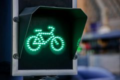 Green light for bicycle lane on traffic light Royalty Free Stock Photo